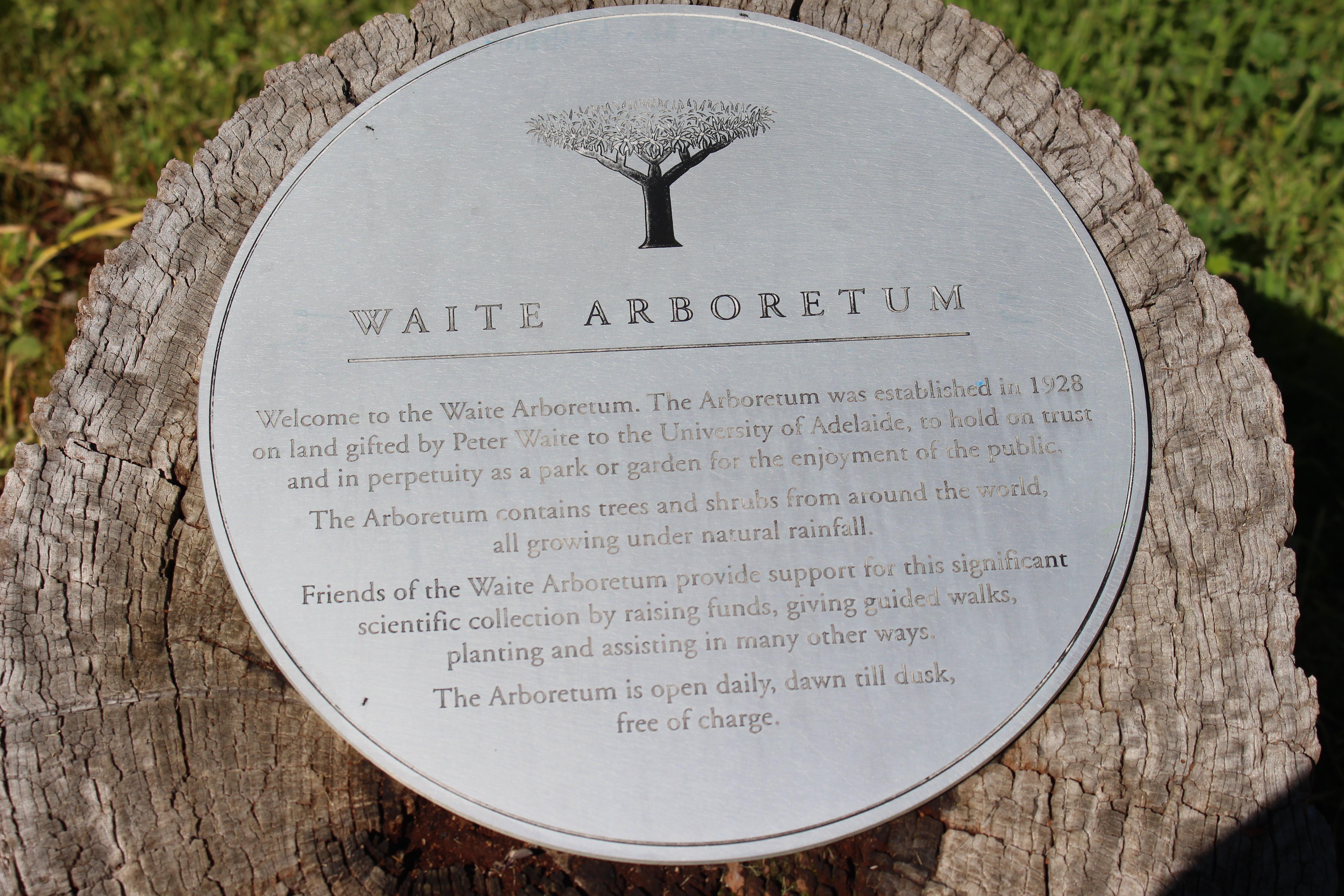 Waite Arboretum Plaque